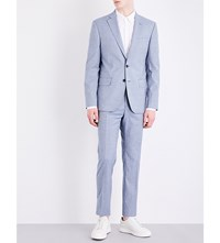Hardy Amies Micro Check Print Slim Fit Wool And Cotton Blend Suit Sea Salt