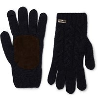 Anderson And Sheppard Suede Panelled Merino Wool Blend Gloves Navy