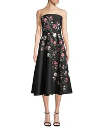 Kate Spade Lilliane Strapless Floral A Line Midi Dress Black