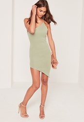 Missguided Asymmetric One Shoulder Bodycon Dress Green