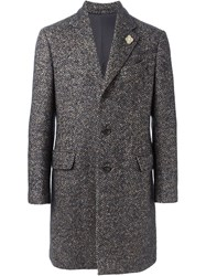 Lardini Herringbone Coat Blue