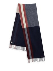 Bally Fringed Wool Scarf Dark Navy