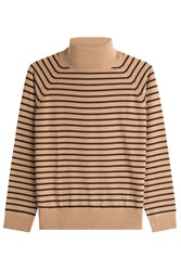 Marc Jacobs Striped Wool Turtleneck Pullover Camel
