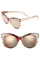 Women's Gucci 'Flora' 53Mm Retro Sunglasses Beige Floral Gold