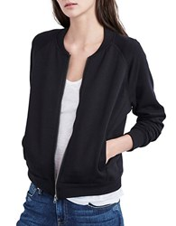 Velvet By Graham And Spencer Faux Fur Lined Zip Up Sweatshirt Black