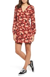 Obey Darcy Floral Wrap Dress Rust Multi