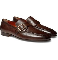 Santoni Pebble Grain Leather Monk Strap Loafers Dark Brown