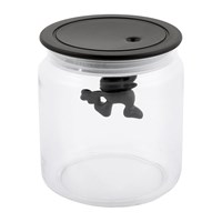 Alessi Gianni Glass Storage Jar Black Black Clear