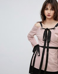Lost Ink Top With Eyelet Tie Details Pink