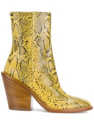A.F.Vandevorst Snake Skin Effect Ankle Boots Leather Sheep Skin Shearling Yellow Orange