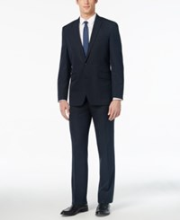 Kenneth Cole Reaction Men's Slim Fit Navy Tonal Striped Suit With Finished Hem