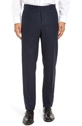 Incotex Men's Benson Flat Front Plaid Wool And Cashmere Trousers Navy