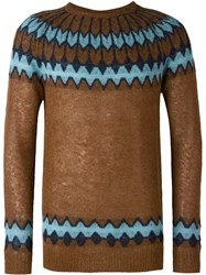 Laneus Geometric Print Jumper Brown