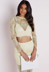 Missguided Triangle Bra Lace Crop Top Lemon Yellow