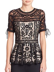 Parker Shannon Embroidered Top Black