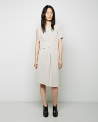 Maison Margiela Line 1 Banded Waist Crepe Dress Chalk