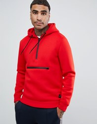 Only And Sons Scuba Sweatshirt With Hood In Red Racing Red