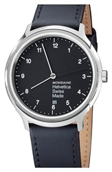 Mondaine 'Helvetica No.1 Regular' Round Leather Strap Watch 40Mm Black Silver
