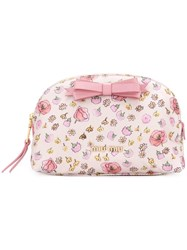 Miu Miu Floral Print Makeup Bag Pink And Purple