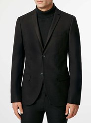 Topman Black Flannel Ultra Skinny Suit Jacket