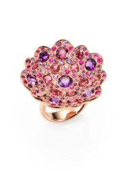 Roberto Coin Fantasia Semi Precious Multi Stone Diamond And 18K Rose Gold Flower Ring Rose Gold Purple Pink