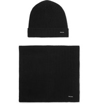 Hugo Boss Ribbed Cashmere Beanie And Scarf Set Black