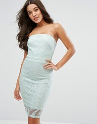 Lipsy Michelle Keegan Loves Bandeau Pencil Dress In Floral Embroidery Mint Green