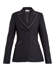 Gabriela Hearst Serge Contrast Stitch Single Breasted Wool Blazer Navy