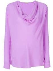 Emilio Pucci Cowl Neck Blouse Women Silk 46 Pink Purple