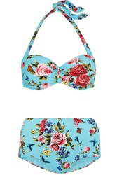 Dolce And Gabbana Floral Print Bikini Light Blue