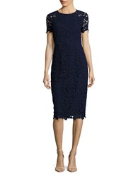 Shoshanna Jewelneck Floral Lace Sheath Dress Navy