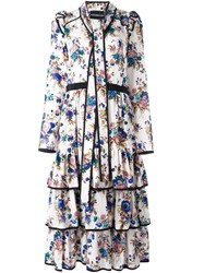 Marco Bologna Floral Print Pussybow Dress Nude And Neutrals