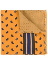 Kent And Curwen Paisley Print Scarf Wool Silk Yellow Orange