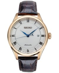 Seiko Men's Automatic Brown Leather Strap Watch 42Mm Srp772 No Color