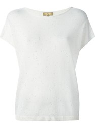 Fay Sequin Embellished Knitted Top White