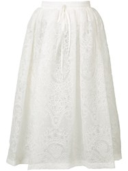Vera Wang Full Floral Lace Skirt White