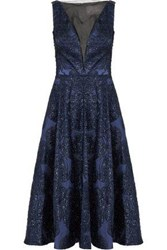 Lela Rose Tinsel Embellished Organza Midi Dress Navy