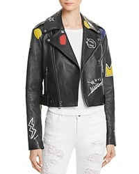 Alice Olivia Cody Embellished Leather Moto Jacket Black Multi