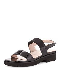 Taryn Rose Tamie Patent Double Strap Sandal Black
