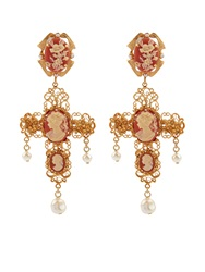 Dolce And Gabbana Cameo Embellished Cross Clip On Earrings
