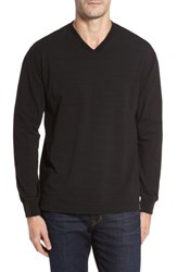 Thaddeus Men's Vinn Slubbed Long Sleeve V Neck T Shirt Black