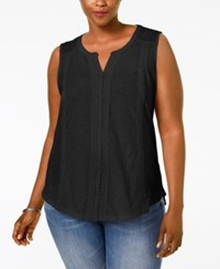 Styleandco. Style And Co. Plus Size Lace Trim Knit Blouse Only At Macy's Deep Black