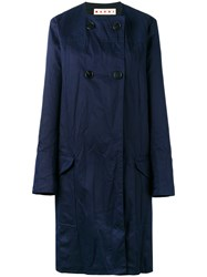 Marni Collarless Buttoned Coat Blue