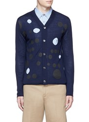 Comme Des Garcons Dot Print Cutout Wool Cardigan Blue