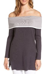 Ming Wang Women's Off The Shoulder Tunic Granite Sterling Ivory