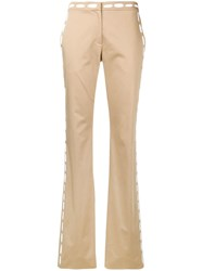 Moschino Printed Stitching Trousers Neutrals