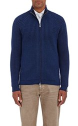 S.Moritz Men's Reversible Zip Front Merino Wool Ribbed Sweater Navy