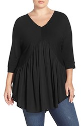 Melissa Mccarthy Seven7 Plus Size Women's V Neck Dolman Sleeve Mixed Media Peplum Top Black