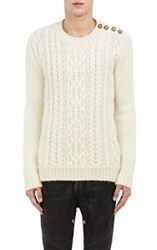 Balmain Men's Button Shoulder Cable Knit Sweater White