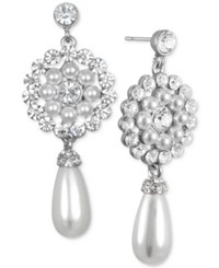 Jewel Badgley Mischka Crystal And Imitation Pearl Flower Drop Earrings Silver